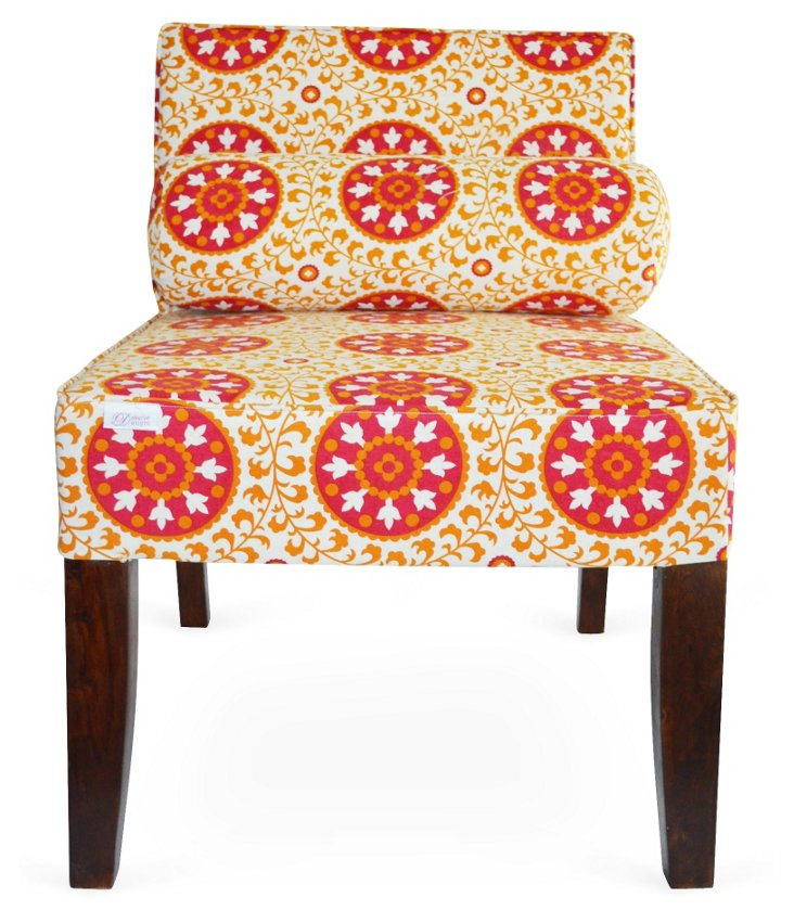 Isabelle Armless Chair, Red/Multi