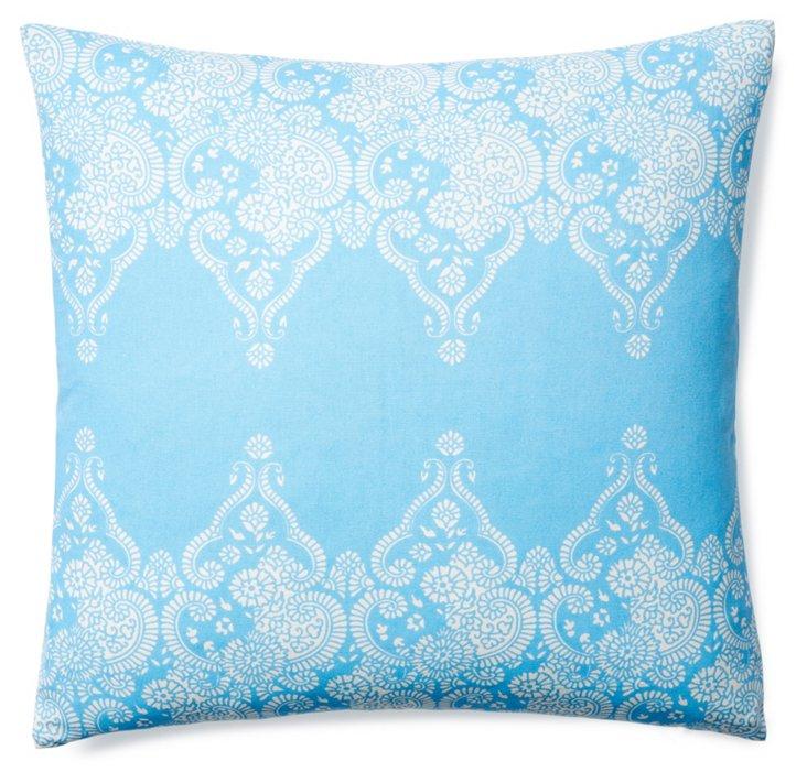 Monterey 20x20 Cotton Pillow, Light Blue