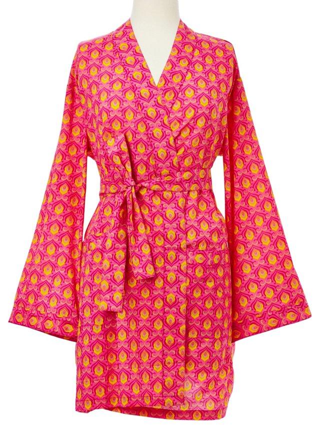 Printed Kimono Robe, Magenta/Orange