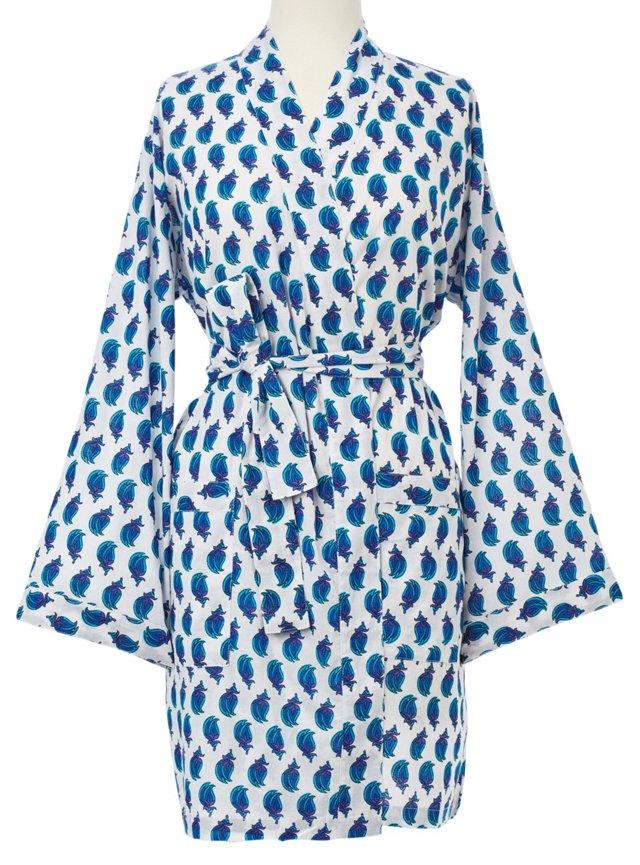 Printed Kimono Robe, White/Blue