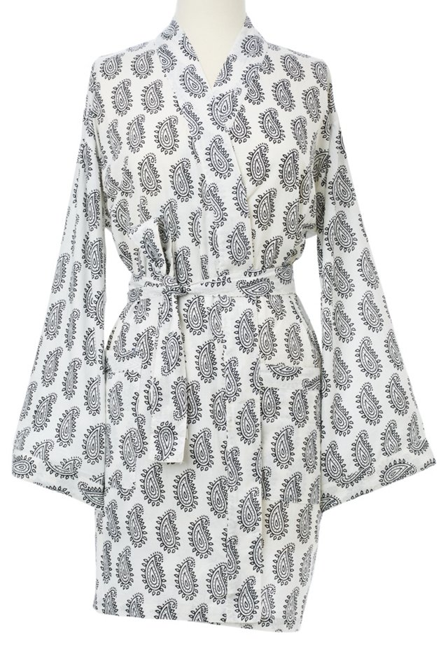 Paisley Kimono Robe, Gray