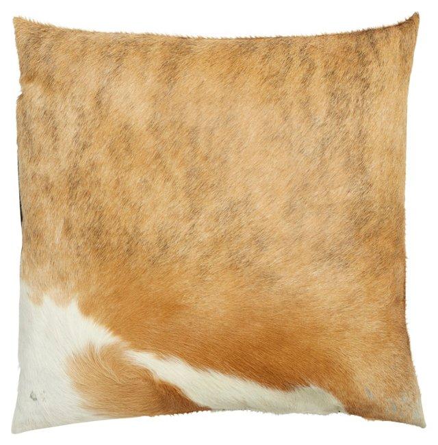Dexter 18x18 Hide Pillow, Tan/White