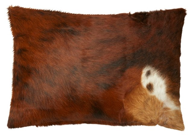 Dexter 14x20 Hide Pillow, Brown/White