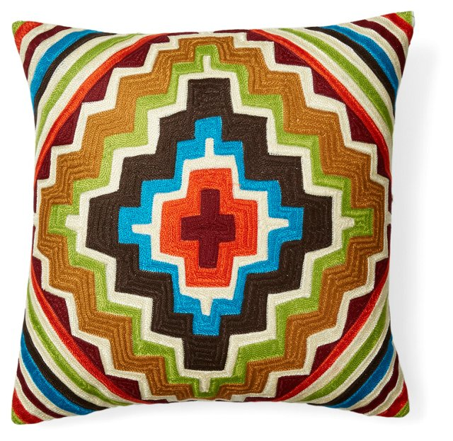 Santa Fe 20x20 Embroidered Pillow, Multi