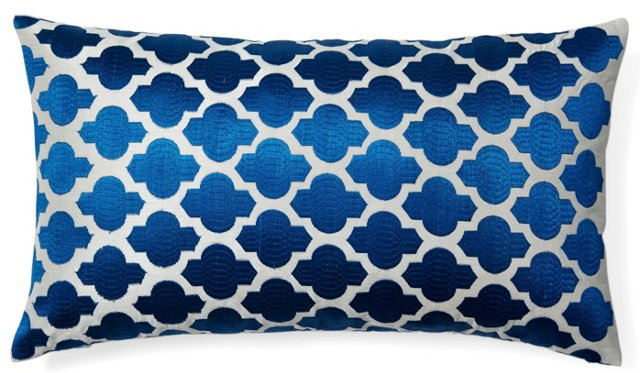 Moroccan 14x24 Embroidered Pillow, Blue