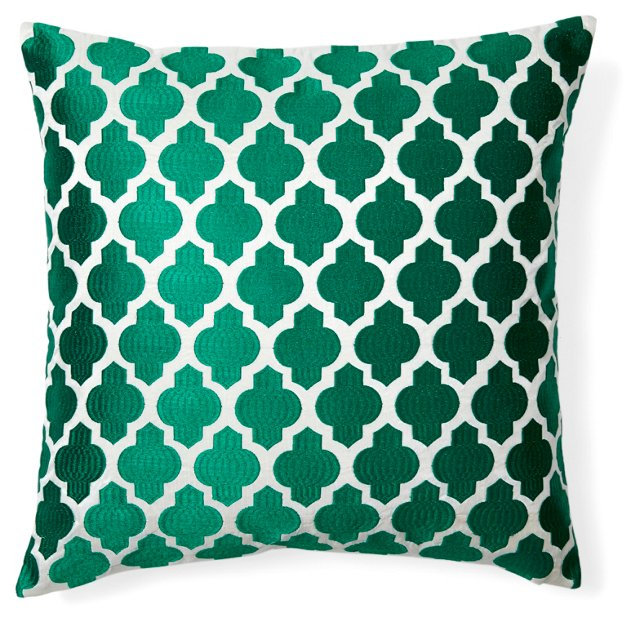 Moroccan 20x20 Embroidered Pillow, Green