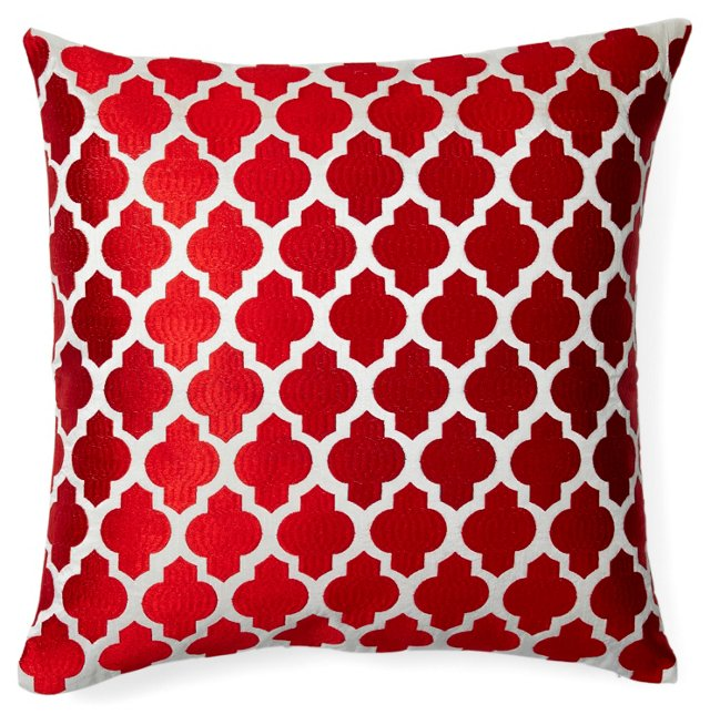Moroccan 20x20 Embroidered Pillow, Red