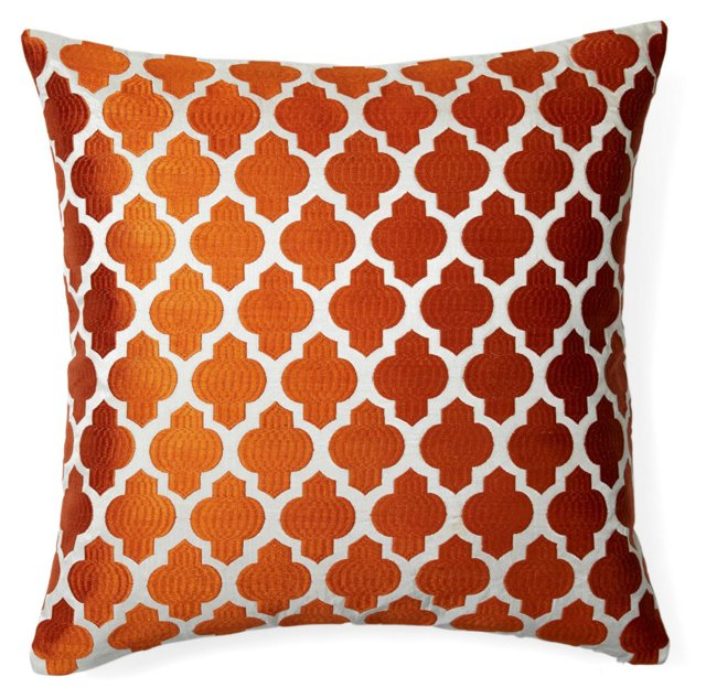 Chic 20x20 Embroidered Pillow, Orange