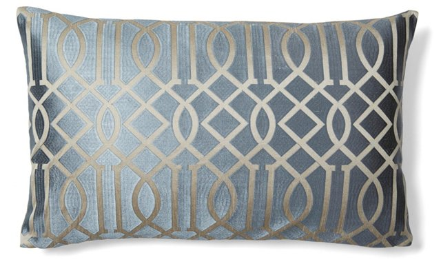 Graphic 14x24 Embroidered Pillow, Gray