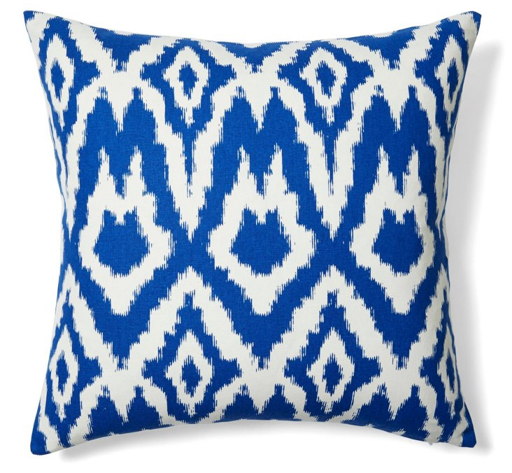 Ikat 20x20 Cotton Pillow, Blue