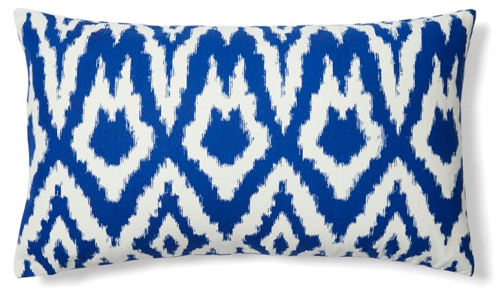 Ikat 14x24 Cotton Pillow, Blue