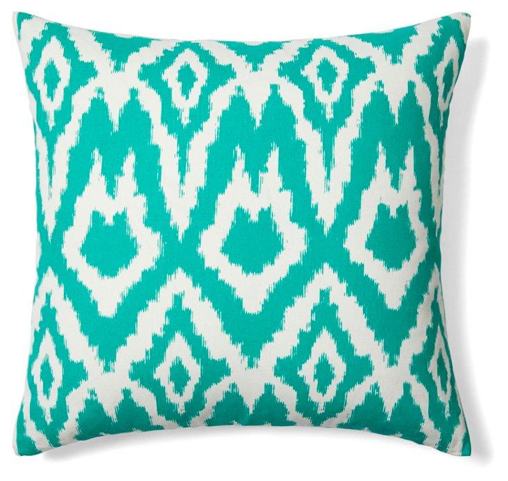 Ikat 20x20 Cotton Pillow, Emerald Green