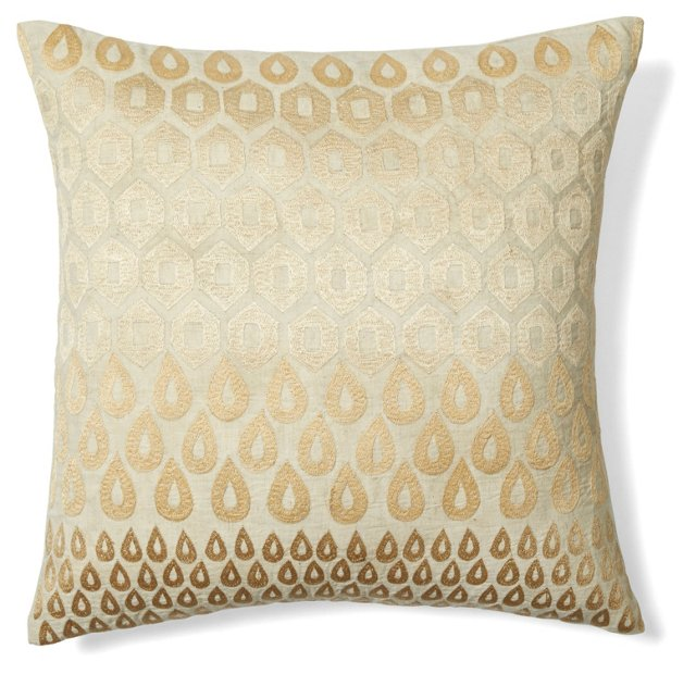 Megha 20x20 Embroidered Pillow, Natural