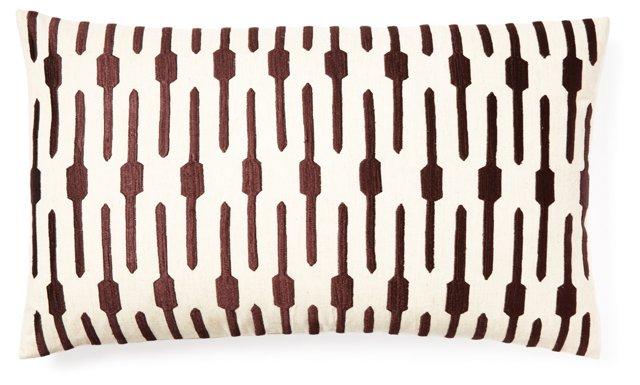 Jai 14x20 Embroidered Pillow, Brown