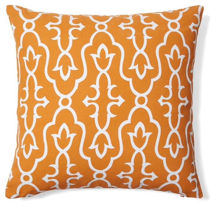 Vibrant 20x20 Cotton Pillow, Orange