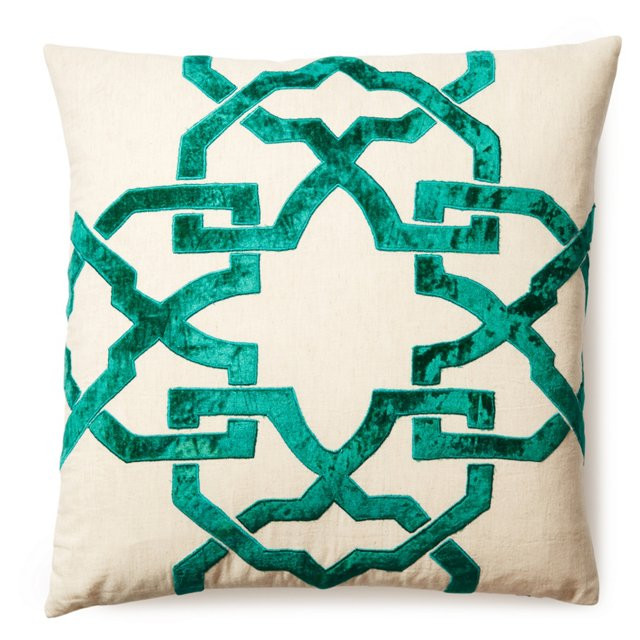 Leah 20x20 Velvet Appliqué Pillow, Green