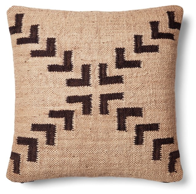 Arrow 20x20 Wool-Blend Pillow, Beige