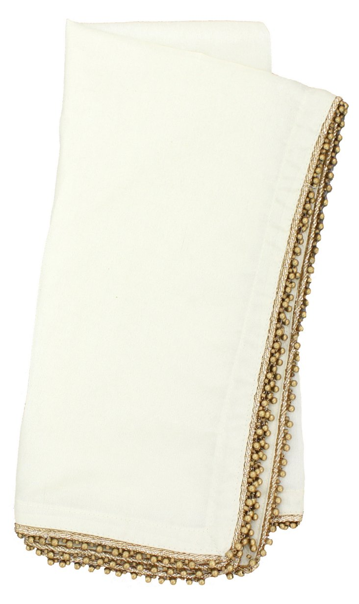 S/4 Beaded Dinner Napkins, Ivory