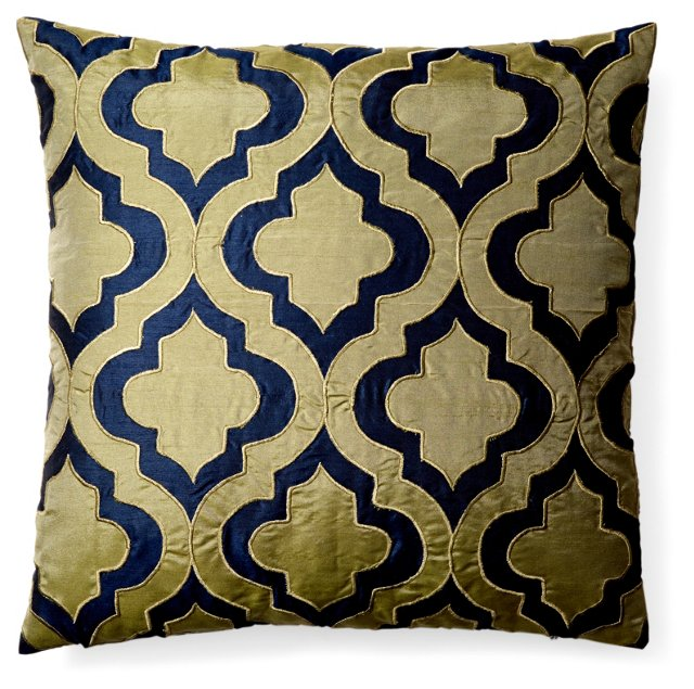 Motif 20x20 Embroidered Pillow, Gold