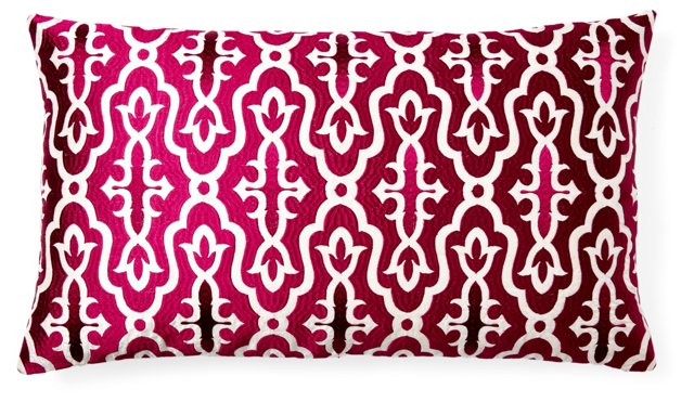 Motif 14x24 Embroidered Pillow, Pink