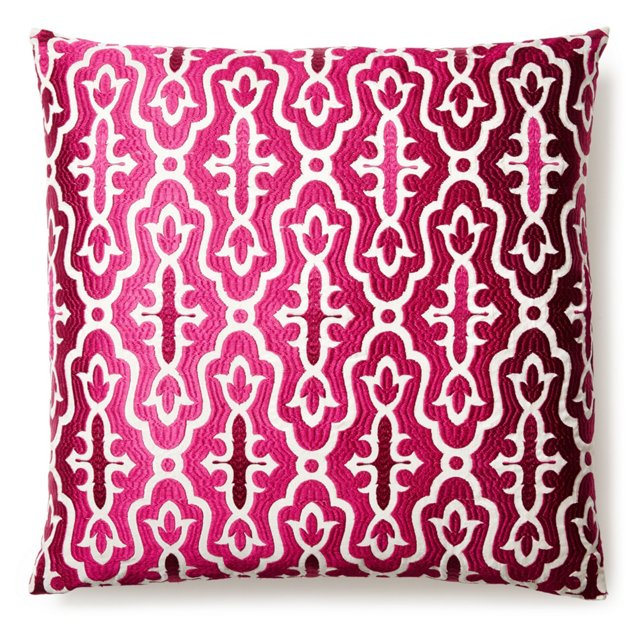 Motif 20x20 Embroidered Pillow, Pink