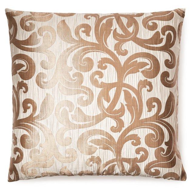 Vines 20x20 Jacquard Pillow, Ivory