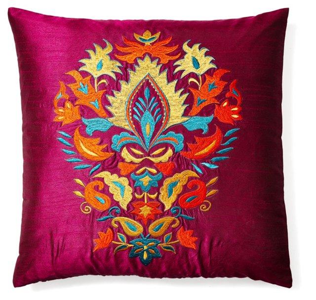 Thalia 20x20 Embroidered Pillow, Multi