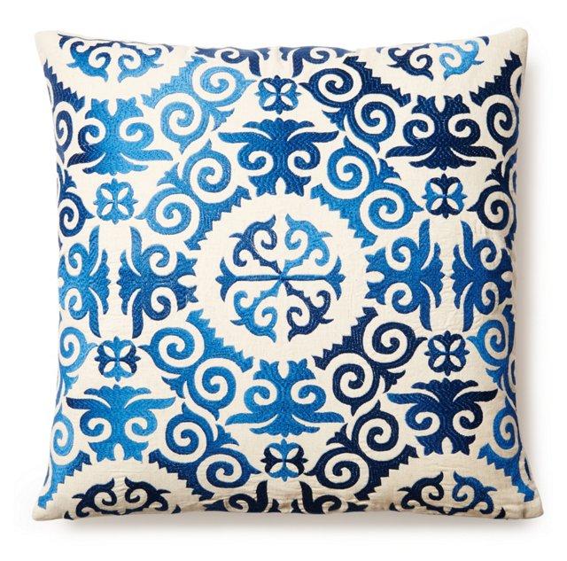 Aviva 20x20 Embroidered Pillow, Blue
