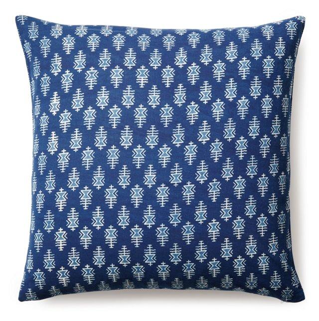Tribal 20x20 Cotton Pillow, Blue