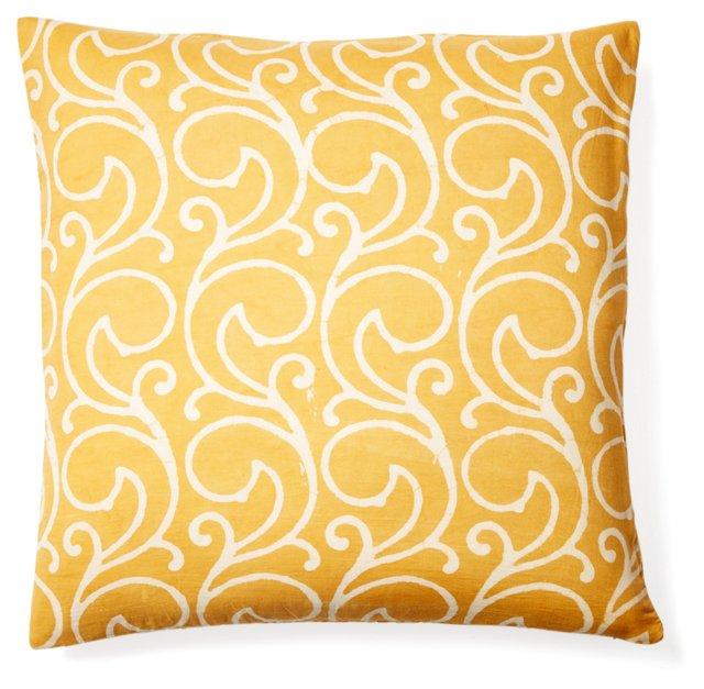 Swirl 20x20 Cotton Pillow, Yellow