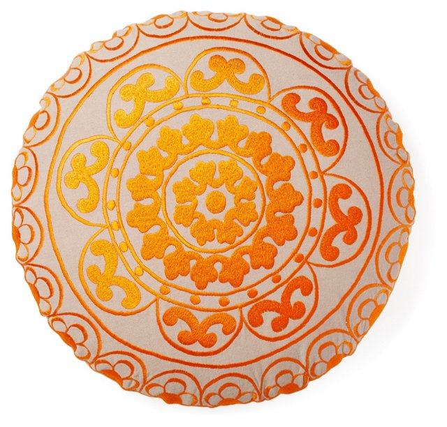 """Carter 16"""" Embroidered Pillow, Orange"""