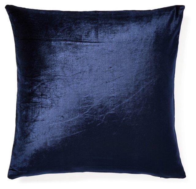 Leah 20x20 Velvet Pillow, Navy