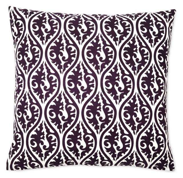 Ava 20x20 Cotton Pillow, Plum