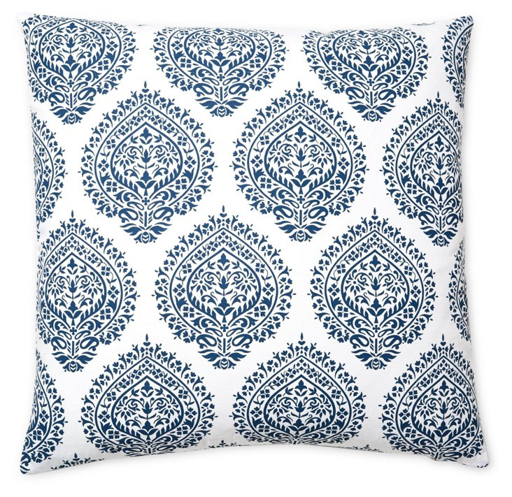 Falguni 20x20 Cotton Pillow, Blue