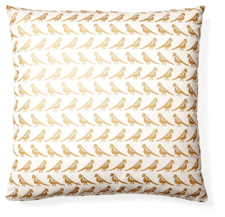 Aviary Cotton Pillow, Gold/Ivory