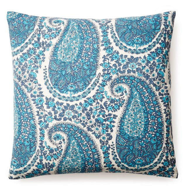 Paisley 20x20 Cotton Pillow, Blue