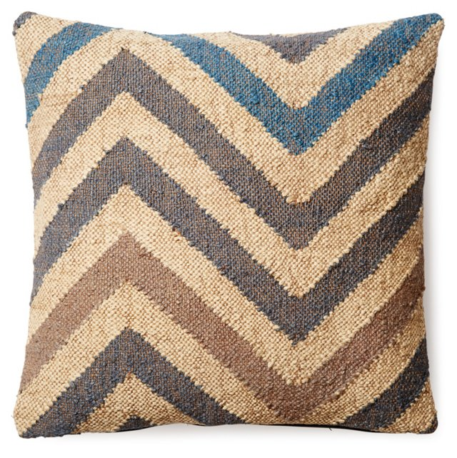 Chevron 20x20 Wool-Blend Pillow, Taupe