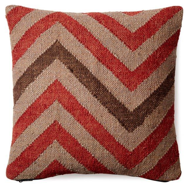 Chevron 20x20 Wool-Blend Pillow, Multi