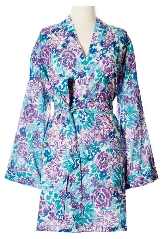 Printed Kimono Robe, Purple/Blue