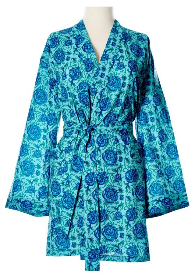 Printed Kimono Robe, Bright Blue