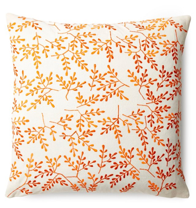 Valerie 18x18 Cotton Pillow, Orange