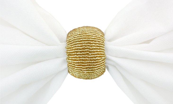 S/4 Beaded Napkin Rings, Gold