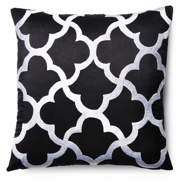 Tile 20x20 Embroidered Pillow, Black