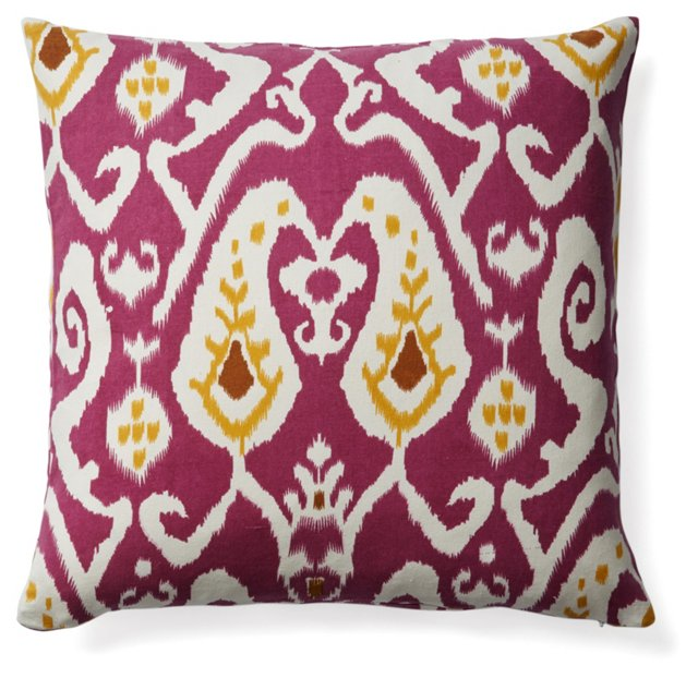 Ikat 20x20 Cotton Pillow, Purple