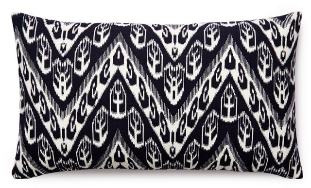 Ikat 14x24 Cotton Pillow, Black