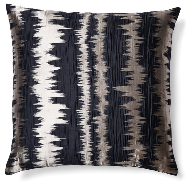 Jacquard 20x20 Pillow, Black/Silver