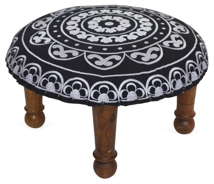 Kylie Embroidered Footstool, Black/White