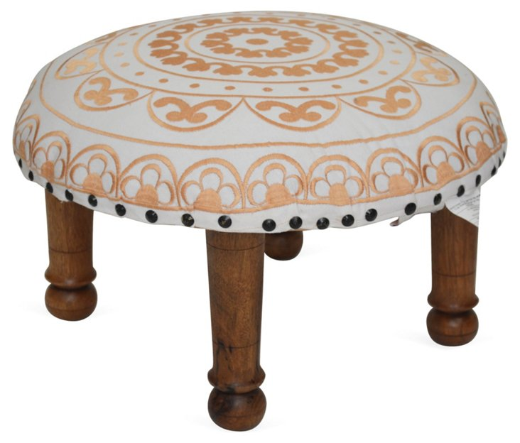 Kylie Footstool, White/Orange