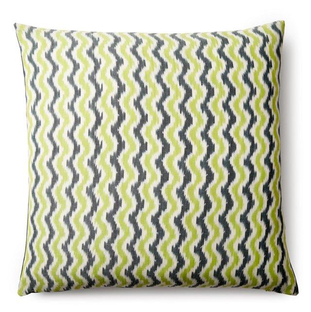 Chevron Cotton Pillow, Green