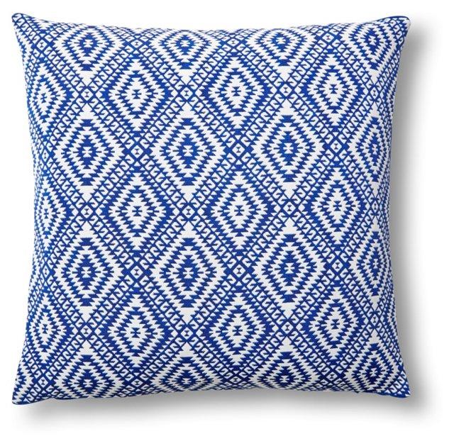 Luna 20x20 Cotton Pillow, White/Blue